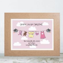 New Baby Girl Washing Line Print - Personalised Baby Girl Print